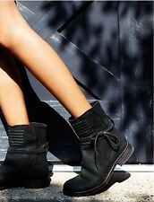Free People Cambridge Women's Black Wrap Leather Boots 38 US 8 Retails $198.00