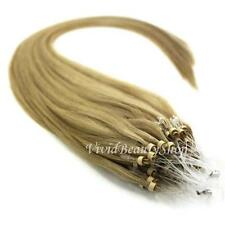 100 Micro Loop Ring Bead I Tip Indian Remy Human Hair Extensions Dark Blonde #12