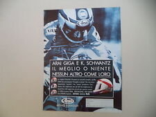 advertising Pubblicità 1991 CASCO HELMET ARAI e KEVIN SCHWANTZ
