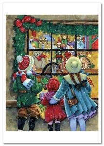 Kids Lovely Cute Boy Gils at the window of a toy store Russian modern Postcard