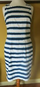 HOBBS Off White and Blue Stripes Sleeveless Fitted Short Cotton Dress Size 12