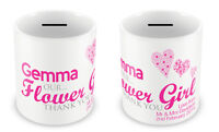 Personalised Money Box - FLOWER GIRL kids Wedding Gift Idea Thank you present D1