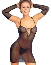 LADIES CLASSIFIED FISHNET DRESS BODY STOCKING CHEMISE THONG & GLOVES SET ,,