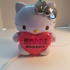 Hello Kitty AM/FM Projection Alarm Clock Radio Silver Bow LED Time Display
