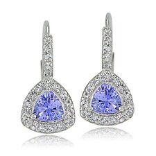 Sterling Silver 1.1ct Tanzanite & White Topaz Trillion-Cut Leverback Earrings