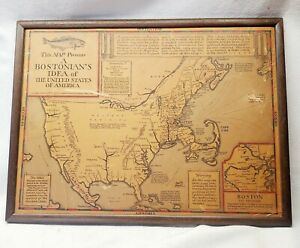 """Framed """"Bostonian's Idea of the United States of America"""" Map Wallingford~30's"""