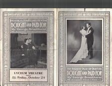 Bought and Paid For Play Ad Brochure 1910s Lyceum Theatre George Broadhurst