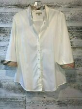 Burberry, Womens Button Up Blouse - White - Size Medium