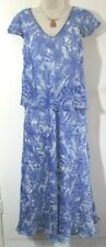 CC PETITE SIZE 12 LADIES LONG LINED BLUE & CREAM WITH SILK TIERED DRESS