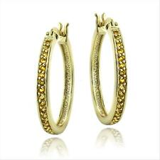 Gold Tone over 925 Silver 5/8ct Citrine Round Hoop Earrings, 25mm