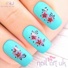 Pink Flower Water Decal Nail Art Tattoos Stickers