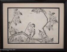 "Antique Japanese Woodblock, Bird Resting on Branch, ""T. Sakai"", Seikasai 1 of 3"