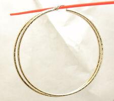 "2mm X 65mm 2 1/2"" Large  FULL Diamond Cut Hoop Earrings REAL 10K Yellow Gold"
