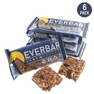 EverBar - Hemp Powered - 12g Protein - Gluten-Free - Blueberry Cashew - 6 Pack