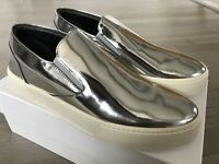 615  Balenciaga Silver Leather Slip Ons Size US 10 823f9011f3