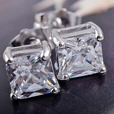 women Men's 9K Solid White Gold Filled Bohemian Square Stud Earrings