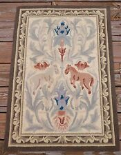 "Vintage 100% Wool Horses Damask Hand Hooked Small Rug 34""x23"" 2x4"