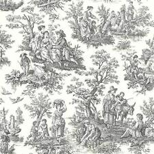 Waverly Light Black Colonial Toile on Soft White Wallpaper WA7828