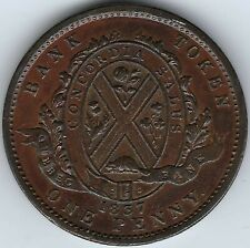 LOWER CANADA Quebec Bank 1837 Penny Token Breton 521 LC-9B1 ICCS EF-45 Inv 4155