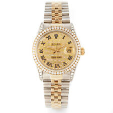 Rolex Mens TT Datejust - Champagne Pave Roman Diamond Dial -Diamond Bezel / Lugs