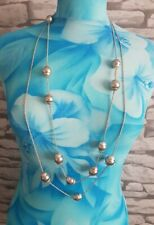Super long silvertone Necklace by Hobbs balls