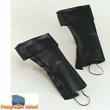 PIRATE BLACK BOOT TOP COVERS Mens or Womens Fancy Dress Costume Accessory