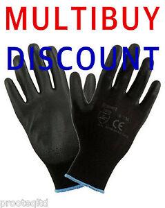 12 Pairs Black PU Coated Nylon Lightweight Work Gloves Garden Garage Mechanics