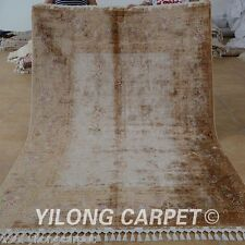 Yilong 5.5'x8.2' Silk Area Rugs Hand Knotted Luxury Hand-made Modern Carpet 1666