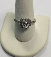 Sterling Silver Cubic Zirconia Halo Heart Ring Size 9.75