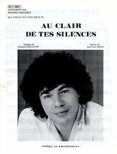 RICHARD COCCIANTE - AU CLAIR DE TES SILENCES - 1981 - EXC ETAT LUXE -