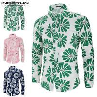 Fashion Men's Hawaiian Floral Shirt Dress Party Fancy Dress Shirt Tops Blouse UK