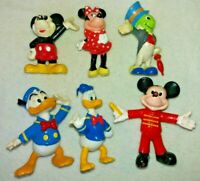 Vintage Rare 6 X Disney Figures Mickey & Minnie Mouse Donald Duck Jiminy Cricket