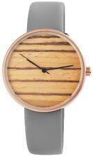 Damenuhr Grau Holz Look Analog Leder Armbanduhr IMP-2910017-002