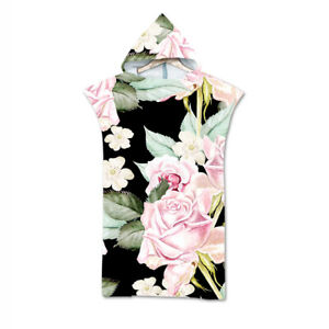 Gift Rose Peony Rose Flower Floral Hooded Swim Beach Poncho Towel Changing Robe
