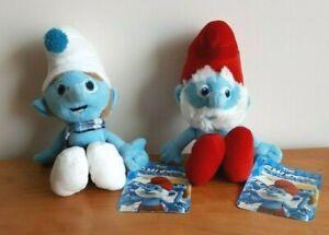 The Smurfs Plush Papa Smurf + Gutsy Smurf  Soft Stuffed Toy 25cm NEW