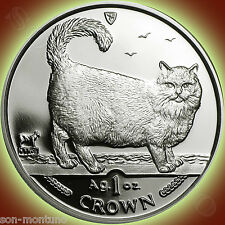 1998 Isle of Man - Birman Cat - 1 Oz .999 Silver Proof Coin in Mint Box with Coa