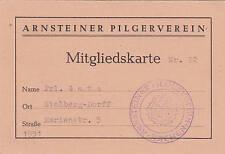 Mitgliedskarte Arnsteiner Pilgerverein Fräulein Gatz 1951 Arnstein Stempel