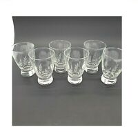 Vintage Etched Glasses Stems & Leaves/Juice/Cordial/Liquor/ 4 in.Tall Set of 6
