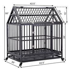 """New Listing42"""" Dog Cage Strong Metal Pet Crate Heavy Duty Kennel House w/ Wheels &Tray Roof"""