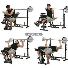 Olympic Weight Bench Set Barbell Press Adjustable Deluxe With Weights Rack USA
