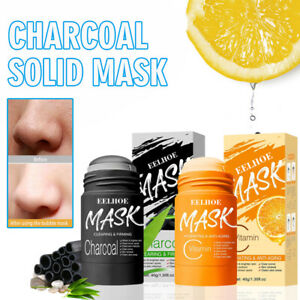 Bamboo Charcoal Vitamin C Solid Clay Mask Stick Deep Clean Anti-Acne Oil Control