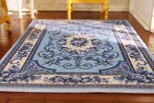 1/12 Scale Beautiful French Aubusson Design Blue White Dollhouse Miniature Rug