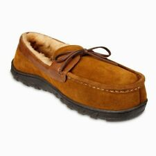 CHAPS Men's CAMEL TAN Genuine Suede Moccasin Slippers - US 9.5-10.5 WIDE Large