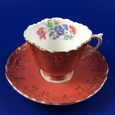 Aynsley Coral Bone China Tea Cup And Saucer