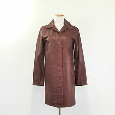 Vintage 90s Express World Brand Leather Coat Brown Fully Lined Women's Size 5/6