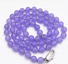 24Inch 6mm natural purple jade gemstone beads necklace JN1942