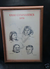 VINTAGE USSR GYMNASTICS FRAMED POSTER HANDSIGNED BY JIM MCKAY WIDE WORLD  SPORTS