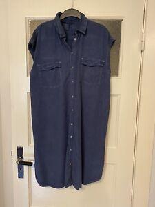 H&M LOGG Hemdblusen Kleid Gr. 46 = 42 44 blau Denim Jeans 100% Lyocell