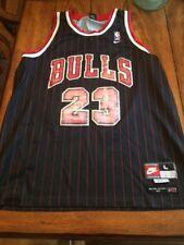 Nike Michael Jordan 90s Bulls Jersey Black, Red Pinstripes (Size L, Length +2)