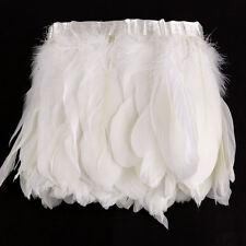 2m White Goose Feather Cloth Dress Collar Sewing Craft Ribbon Elegant Shawls
